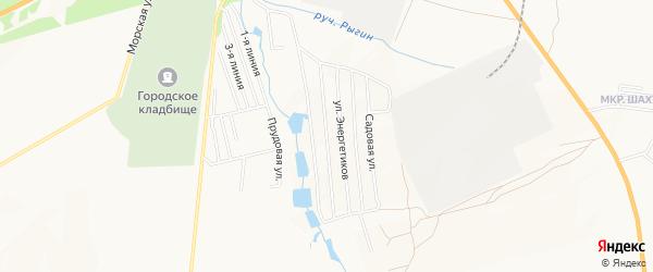 Карта садового некоммерческого товарищества Спутника КСМ-7 города Каменска-Шахтинского в Ростовской области с улицами и номерами домов
