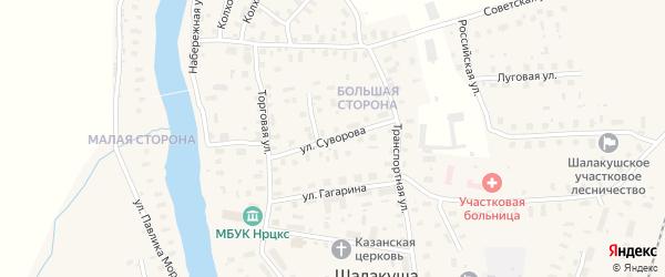 Улица Суворова на карте поселка Шалакуши с номерами домов
