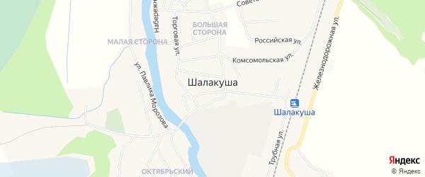 Карта поселка Шалакуши в Архангельской области с улицами и номерами домов