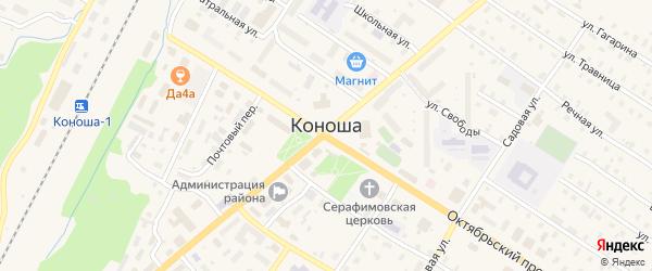 Сельская улица на карте поселка Коноши Архангельской области с номерами домов