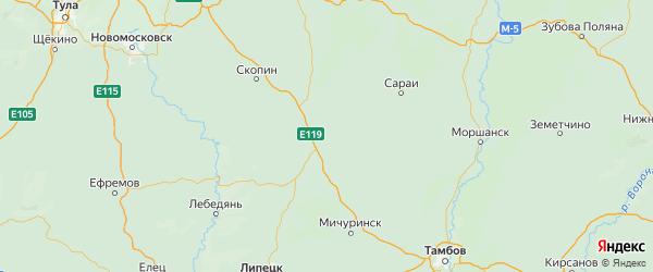 Карта Александро-невского района Рязанской области с городами и населенными пунктами