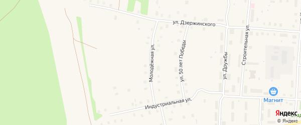 Молодежная улица на карте поселка Плесецка Архангельской области с номерами домов