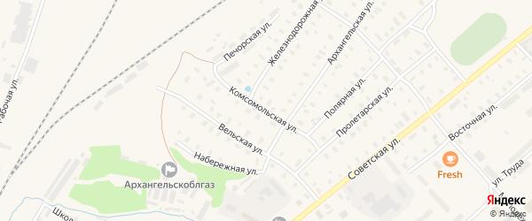 Комсомольская улица на карте поселка Коноши с номерами домов