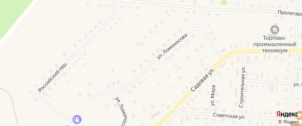 Улица Ломоносова на карте поселка Плесецка Архангельской области с номерами домов