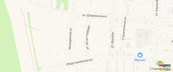 Переулок 50 лет Победы на карте поселка Плесецка с номерами домов