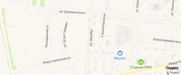 Улица Дружбы на карте поселка Плесецка Архангельской области с номерами домов