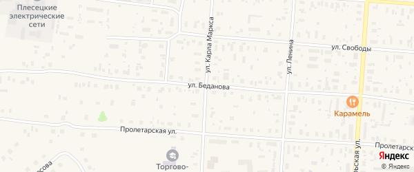 Улица Беданова на карте поселка Плесецка с номерами домов
