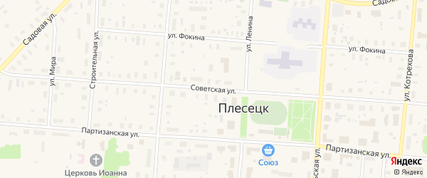 Советская улица на карте поселка Плесецка Архангельской области с номерами домов