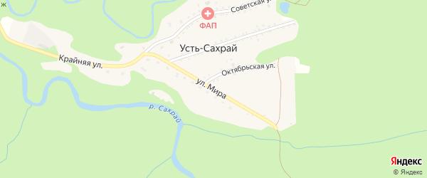 Улица Мира на карте поселка Усти-Сахрая Адыгеи с номерами домов
