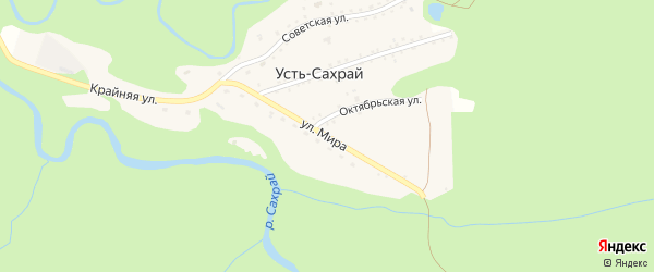 Улица Мира на карте поселка Усти-Сахрая с номерами домов