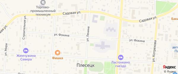 Улица Фокина на карте поселка Плесецка Архангельской области с номерами домов