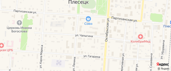 Улица Чапыгина на карте поселка Плесецка Архангельской области с номерами домов
