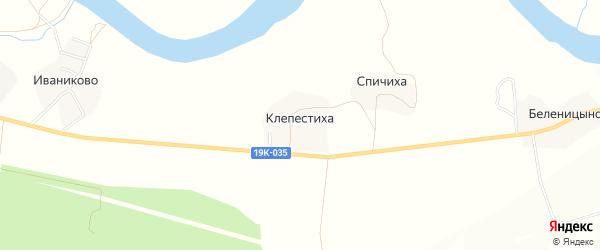 Карта деревни Клепестихи в Вологодской области с улицами и номерами домов