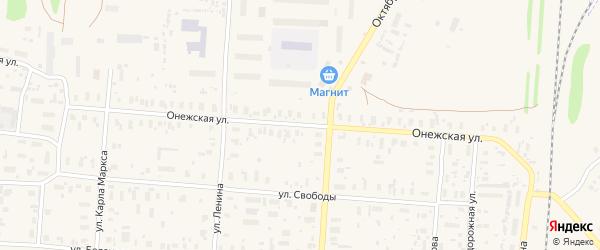 Онежская улица на карте поселка Плесецка Архангельской области с номерами домов