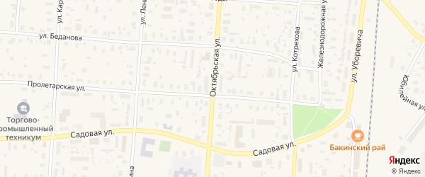 Октябрьская улица на карте поселка Плесецка Архангельской области с номерами домов