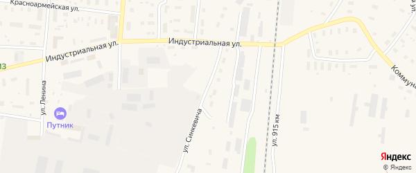 Улица Синкевича на карте поселка Плесецка Архангельской области с номерами домов