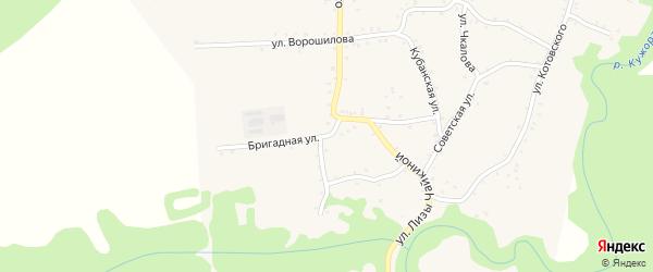 Бригадная улица на карте Кужорской станицы Адыгеи с номерами домов