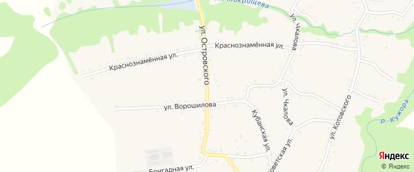 Улица Островского на карте Кужорской станицы Адыгеи с номерами домов