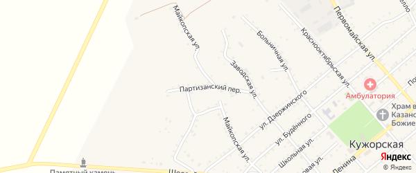Партизанский переулок на карте Кужорской станицы Адыгеи с номерами домов