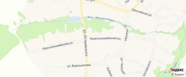 Краснознаменная улица на карте Кужорской станицы Адыгеи с номерами домов