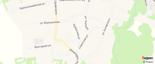 Кубанская улица на карте Кужорской станицы Адыгеи с номерами домов