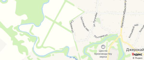 Садовая улица на карте аула Джерокая с номерами домов