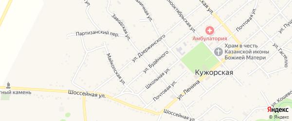 Заводская улица на карте Кужорской станицы Адыгеи с номерами домов