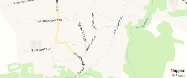 Советская улица на карте Кужорской станицы Адыгеи с номерами домов