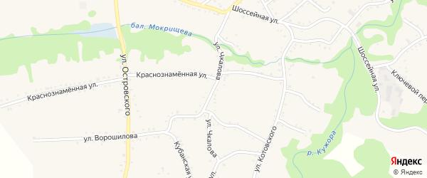 Улица Чкалова на карте Кужорской станицы Адыгеи с номерами домов