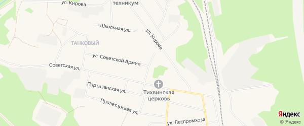 Карта Обозерского поселка в Архангельской области с улицами и номерами домов