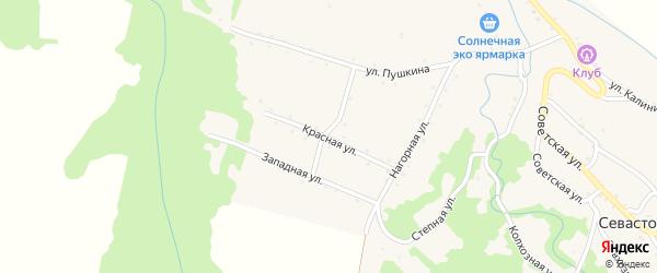 Красная улица на карте Севастопольской станицы Адыгеи с номерами домов
