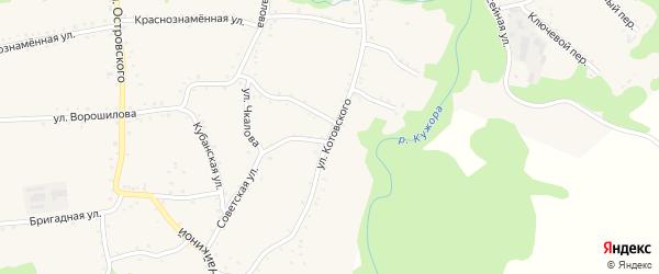 Улица Котовского на карте Кужорской станицы Адыгеи с номерами домов