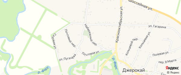Набережный переулок на карте аула Джерокая Адыгеи с номерами домов