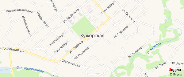 Луговой переулок на карте Кужорской станицы Адыгеи с номерами домов