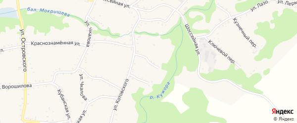 Переулок Тельмана на карте Кужорской станицы Адыгеи с номерами домов