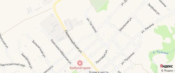 Улица Дзержинского на карте Кужорской станицы Адыгеи с номерами домов