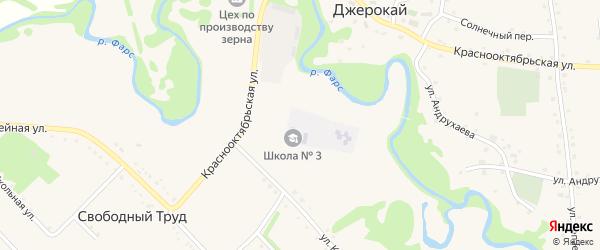 Полевая улица на карте аула Джерокая Адыгеи с номерами домов