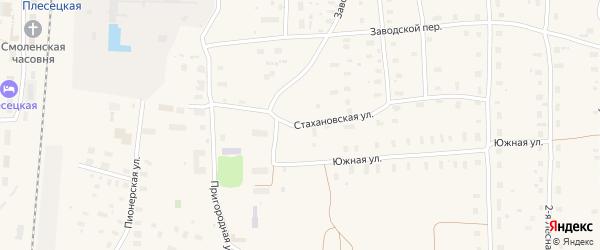 Стахановская улица на карте поселка Плесецка Архангельской области с номерами домов