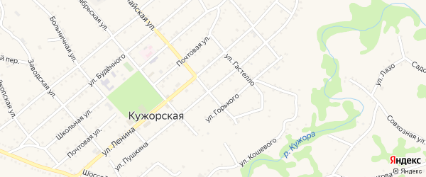 Улица Пушкина на карте Кужорской станицы Адыгеи с номерами домов