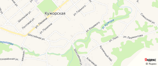 Улица О.Кошевого на карте Кужорской станицы Адыгеи с номерами домов