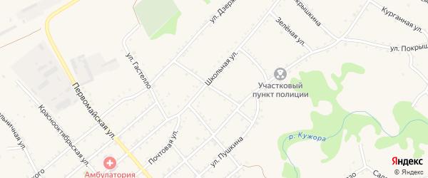 Улица Парижской Коммуны на карте Кужорской станицы Адыгеи с номерами домов