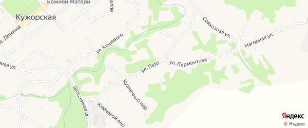 Улица С.Лазо на карте Кужорской станицы Адыгеи с номерами домов