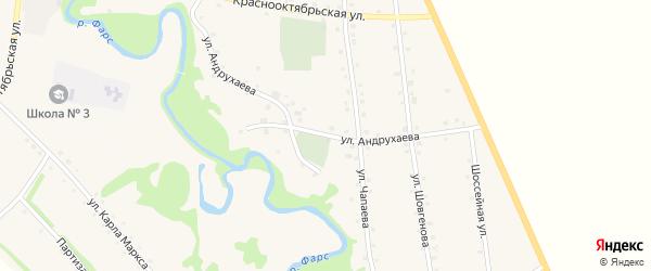 Улица Андрухаева на карте аула Джерокая с номерами домов
