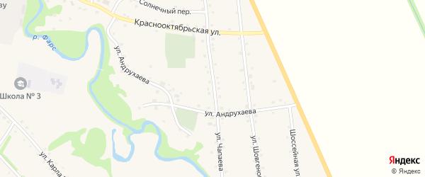 Улица Чапаева на карте аула Джерокая Адыгеи с номерами домов