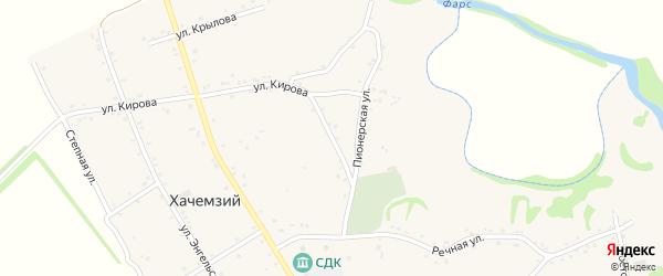 Комсомольская улица на карте Хачемзия аула Адыгеи с номерами домов