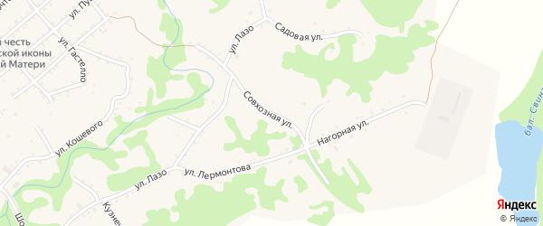 Совхозная улица на карте Кужорской станицы Адыгеи с номерами домов