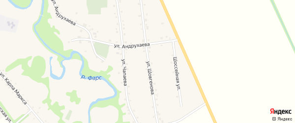 Улица Шовгенова на карте аула Джерокая с номерами домов