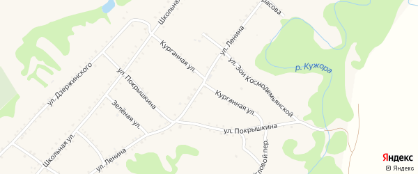 Курганная улица на карте Кужорской станицы Адыгеи с номерами домов