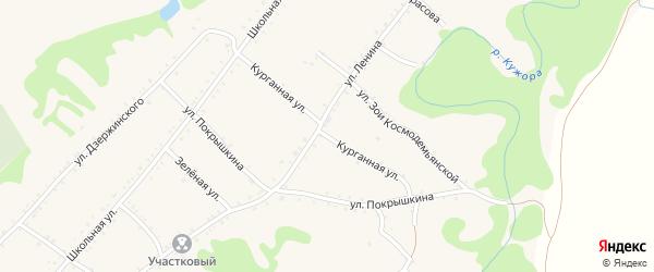 Курганная улица на карте Кужорской станицы с номерами домов