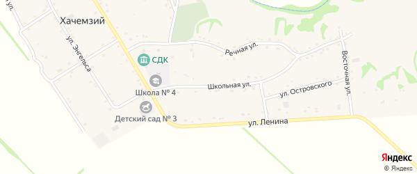 Школьная улица на карте Хачемзия аула Адыгеи с номерами домов